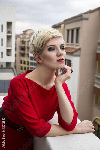 Beautiful Blonde Girl Wearing Black Jacket Stock Photo