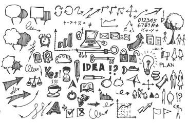 Business doodles sketch handrawn ink.