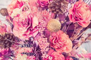 Beautiful bouquet flower for background with filter effect retro