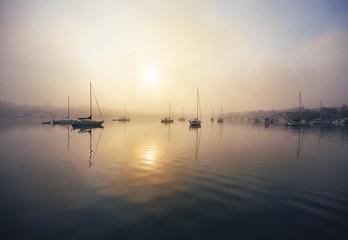 Charlevoix Harbor in fog