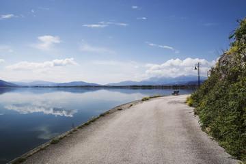 View of quiet lakeshore near Ioannina