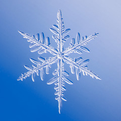 Close-up of snowflake against blue background