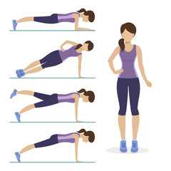 Set of plank exercise. Girl doing different exercises plank. Physical training for losing weight, reduction in fat mass. Vector.