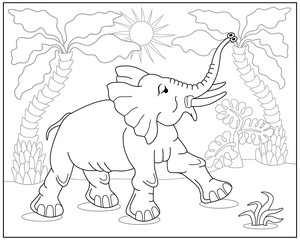 Coloring book or page with elephant, palms and exotic plants. Vector illustration.