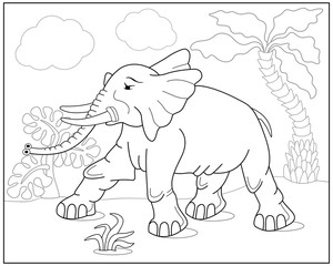 Coloring book or page with elephant, palm and exotic plants. Vector illustration.