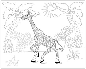 Coloring book or page with giraffe, palm and exotic plants. Vector illustration.