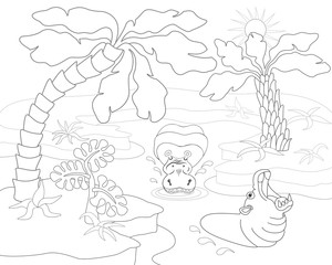 Coloring book or page with hippopotamus, river, palms and exotic plants. Vector illustration.