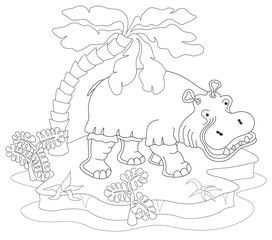 Coloring book or page with hippopotamus, island, palm and exotic plants. Vector illustration.
