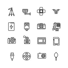 Camera and Accesories icon set on white background