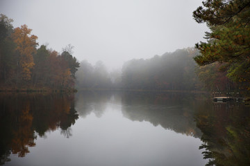 View of lake on foggy day