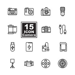 camera icon set on white background