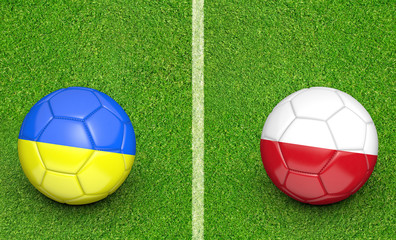 Team balls for Ukraine vs Poland football tournament match, 3D rendering