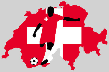 UEFA Euro 2016 vector illustration of football player run hit ball. Group A participant. Soccer team player in uniform with state national flag of Switzerland original colors. Switzerland map clip art