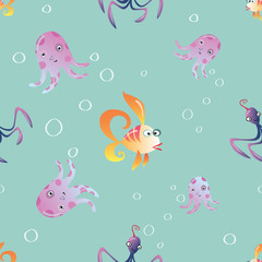 marine seamless pattern background