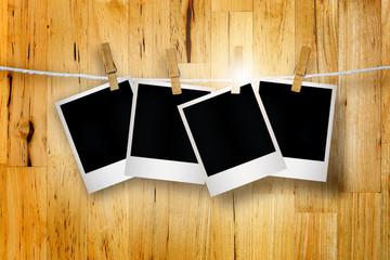 Empty Polaroid photo papers.