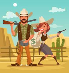 Bonnie and Clyde. Woman and man thieves. Western robbers. Vector flat cartoon illustration