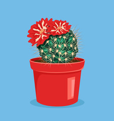 Blooming cactus. Cactus with flower. Cactus in pot. Vector flat cartoon icon illustration