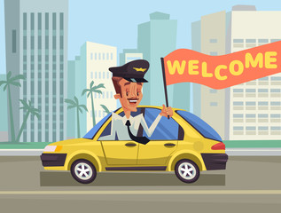 Welcome Taxi. Greeting taxi. Happy taxi driver. Yellow New York taxi. Vector flat cartoon illustration
