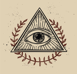 Hand drawn vector illustration - All seeing eye pyramid symbol.