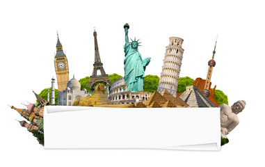 Fototapete - Famous monuments of the world with blank rolled paper