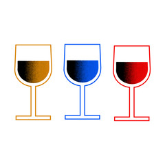 Three vector colorful flat glass of wine on a white background.