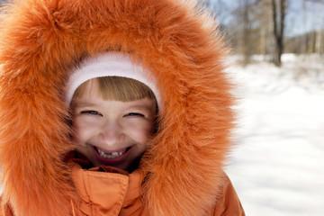 Portrait of girl in fur coat