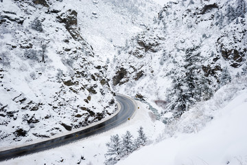Road in mountains in winter