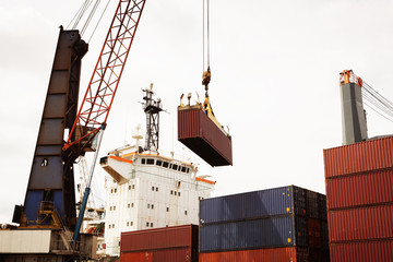 View of crane loading container