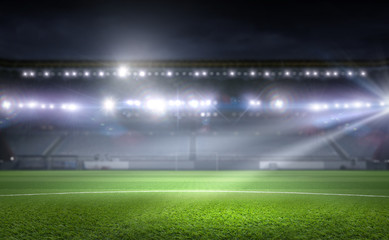 Football stadium in lights