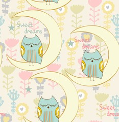 Cartoon Sleeping owl. Cute Hand Drawn seamless pattern
