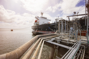 View of pipelines and oil tanker