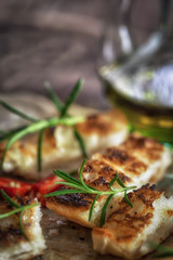 Ciabatta bread with olive oil and rosemary