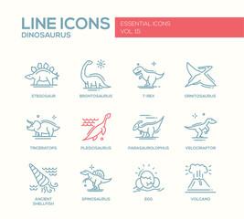 Dinosaurs species- line design icons set