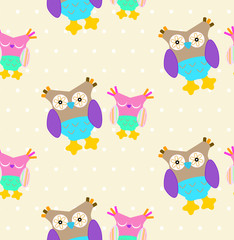 Owl Pattern. Seamless pattern with cute owls in cartoon style for kids. Seamless pattern with colorful owls. Funny owls birds seamless pattern for fabric, interior or any another background design.
