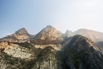 Low angle view from Yangtze River of mountain range