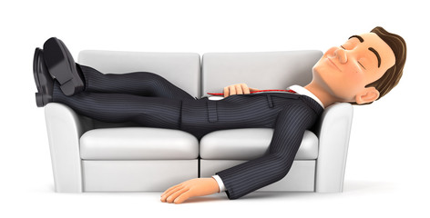 3d businessman sleeping on sofa