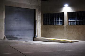 Illuminated parking area at night