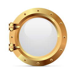 Ship metal porthole on white background