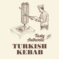 Illustration of chef slicing meat for kebab, vector
