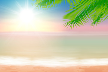 Beach and tropical sea with palmtree leaves
