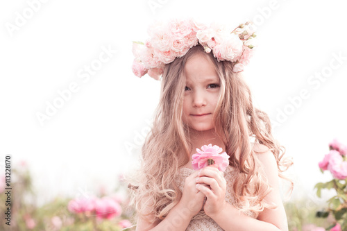 Cute Baby Girl 3 4 Year Old Holding Flower Rose Outdoors Child