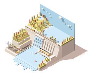 Vector isometric hydro power plant infographic