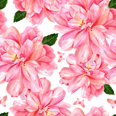 Seamless background pattern with pastel pink roses and butterflies