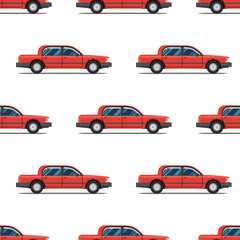 seamless pattern of red cars Limo sedans