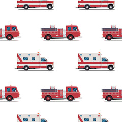 seamless pattern of the fire engine and ambulance.