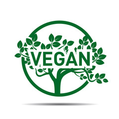 Green Sign and text VEGAN. Vector Illustration.