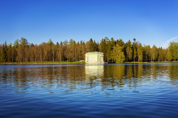 May evening at the White lake at the pavilion of Venus. Gatchina Palace Park, Russia