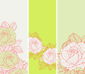 a set of romantic English style bookmarks with roses in red and fresh green shades