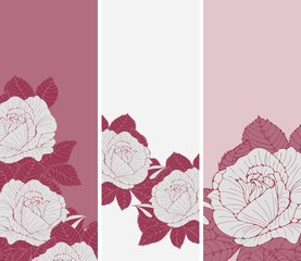 a set of romantic English style bookmarks with roses in gray and pink shades