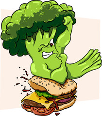 Broccoli vs burger, healthy food  fast , competition.